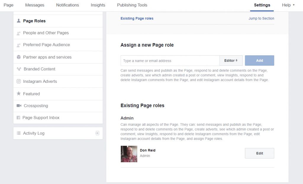 How To Set Up A Facebook Business Page - page roles