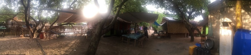 panorama view of the living area of our camp