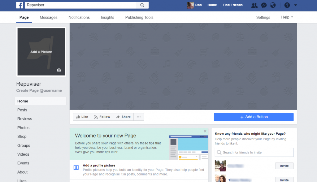 How To Set Up A Facebook Business Page - blank page