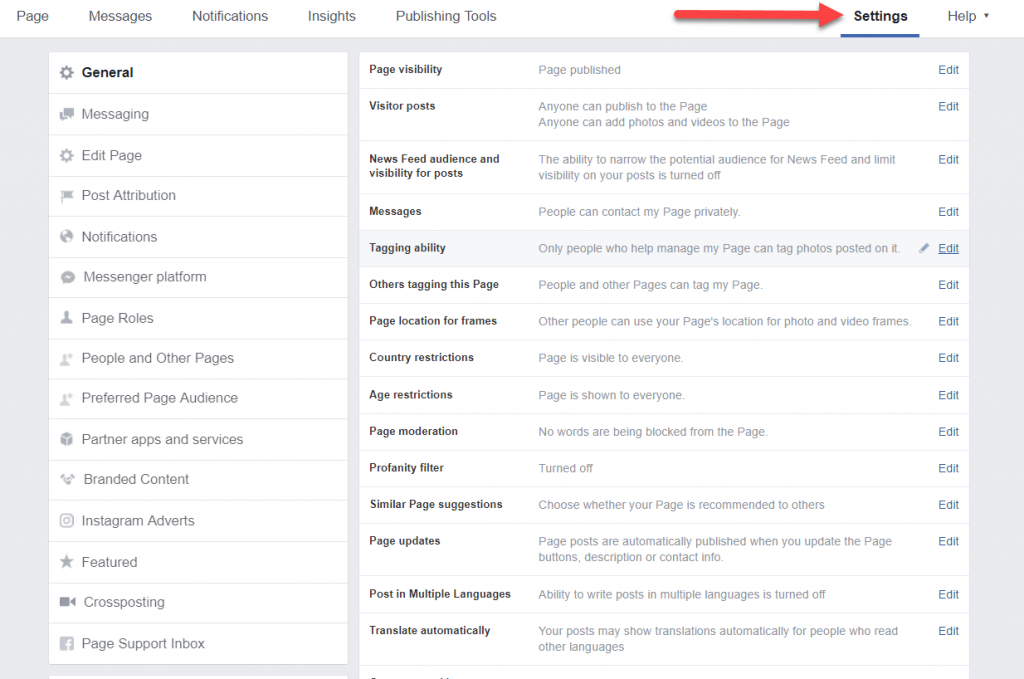 How To Set Up A Facebook Business Page - settings