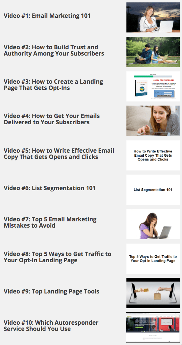 Email List Secrets: 10 Step By Step Video Tutorials