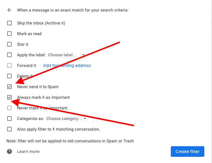Gmail - Do Not Send To Spam Filter